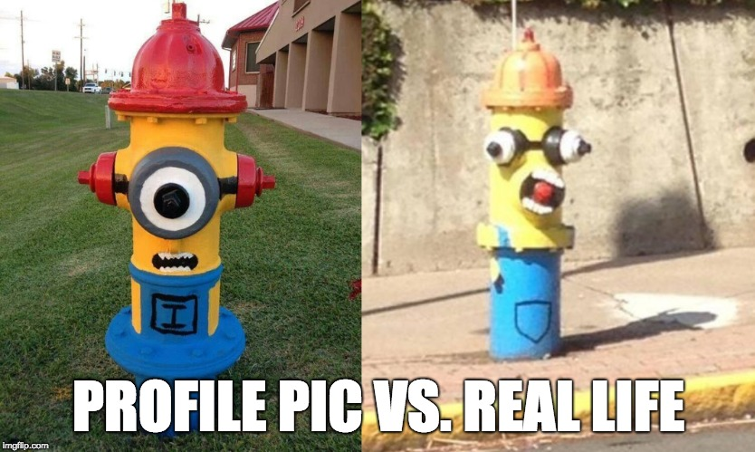 Profile Pic Vs. Real Life  | PROFILE PIC VS. REAL LIFE | image tagged in funny,humor,art,streetart,fail | made w/ Imgflip meme maker