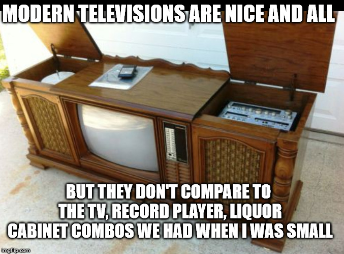 Of course back then I was the remote control. | MODERN TELEVISIONS ARE NICE AND ALL BUT THEY DON'T COMPARE TO THE TV, RECORD PLAYER, LIQUOR CABINET COMBOS WE HAD WHEN I WAS SMALL | image tagged in tv cabinet | made w/ Imgflip meme maker