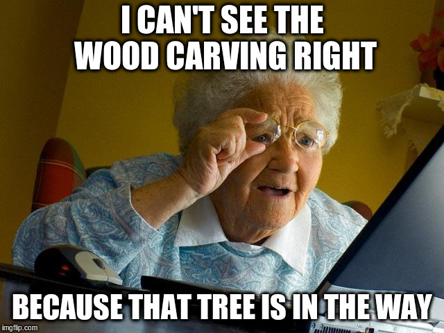 Grandma Finds The Internet Meme | I CAN'T SEE THE WOOD CARVING RIGHT BECAUSE THAT TREE IS IN THE WAY | image tagged in memes,grandma finds the internet | made w/ Imgflip meme maker