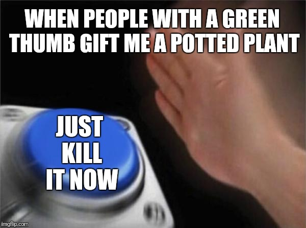 This will not end well | WHEN PEOPLE WITH A GREEN THUMB GIFT ME A POTTED PLANT JUST KILL IT NOW | image tagged in memes,blank nut button,gifts,plants | made w/ Imgflip meme maker