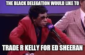 R kelly | THE BLACK DELEGATION WOULD LIKE TO TRADE R KELLY FOR ED SHEERAN | image tagged in r kelly,dave chappelle,piss | made w/ Imgflip meme maker