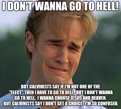 "1990s First World Problems Meme | I DON'T WANNA GO TO HELL! BUT CALVINISTS SAY IF I'M NOT ONE OF THE ""ELECT"" THEN I HAVE TO GO TO HELL.  BUT I DON'T WANNA GO TO HELL.  I WANN 