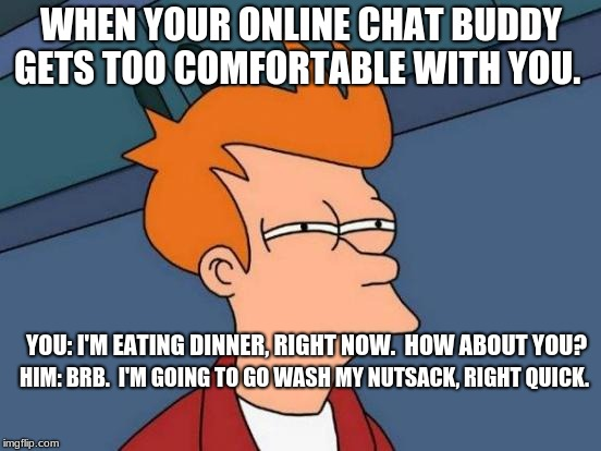 Futurama Fry Meme | WHEN YOUR ONLINE CHAT BUDDY GETS TOO COMFORTABLE WITH YOU. YOU: I'M EATING DINNER, RIGHT NOW.  HOW ABOUT YOU? HIM: BRB.  I'M GOING TO GO WAS | image tagged in memes,futurama fry | made w/ Imgflip meme maker