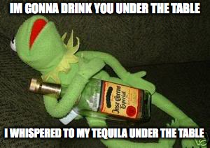 drunk | IM GONNA DRINK YOU UNDER THE TABLE I WHISPERED TO MY TEQUILA UNDER THE TABLE | image tagged in drunk kermit,drunk,tequila,tables,party time | made w/ Imgflip meme maker