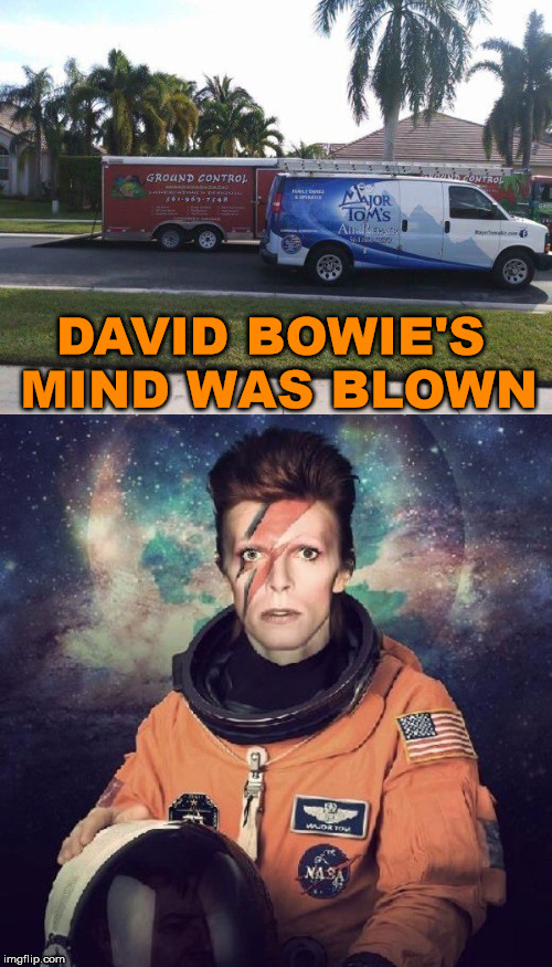 A great way to pay tribute to David Bowie with trucks | DAVID BOWIE'S MIND WAS BLOWN | image tagged in memes,david bowie,rock music,humor,funny picture | made w/ Imgflip meme maker
