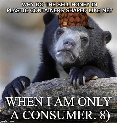 Confession Bear Meme | WHY DO THE SELL HONEY IN PLASTIC CONTAINERS SHAPED LIKE ME? WHEN I AM ONLY A CONSUMER. 8) | image tagged in memes,confession bear | made w/ Imgflip meme maker