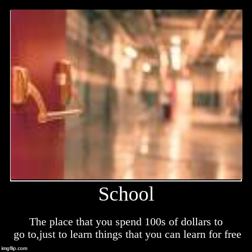 School | The place that you spend 100s of dollars to go to,just to learn things that you can learn for free | image tagged in funny,demotivationals | made w/ Imgflip demotivational maker