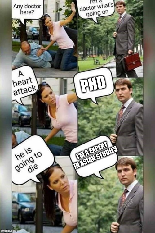 Is there a doctor around? | PHD I'M A EXPERT IN ASIAN STUDIES | image tagged in is there a doctor around | made w/ Imgflip meme maker