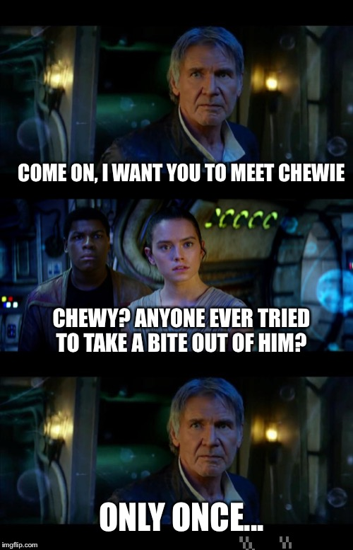 Why didn't anyone ever make this joke? | COME ON, I WANT YOU TO MEET CHEWIE CHEWY? ANYONE EVER TRIED TO TAKE A BITE OUT OF HIM? ONLY ONCE... | image tagged in memes,chewbacca,star wars,han solo | made w/ Imgflip meme maker