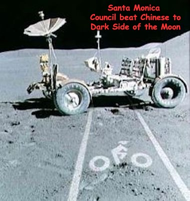Race to the Moon... | Santa Monica Council beat Chinese to Dark Side of the Moon | image tagged in moon,chinese,nasa,santa monica | made w/ Imgflip meme maker