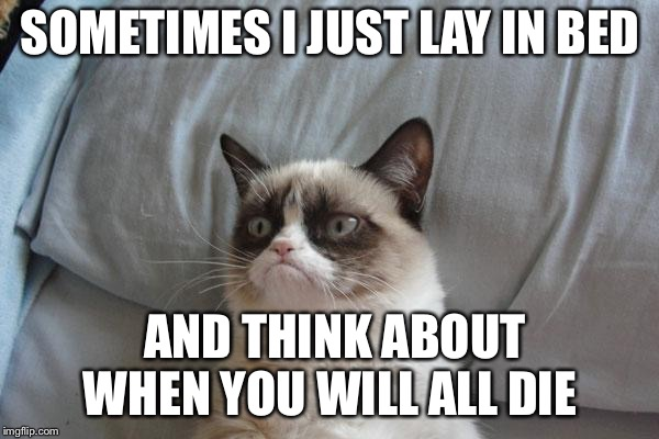 Grumpy Cat Bed Meme | SOMETIMES I JUST LAY IN BED AND THINK ABOUT WHEN YOU WILL ALL DIE | image tagged in memes,grumpy cat bed,grumpy cat | made w/ Imgflip meme maker
