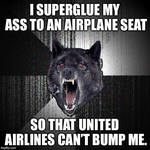 Trying throwing me off now United Airlines | I SUPERGLUE MY ASS TO AN AIRPLANE SEAT SO THAT UNITED AIRLINES CAN'T BUMP ME. | image tagged in memes,insanity wolf,united airlines,super glue,airplane,butt | made w/ Imgflip meme maker