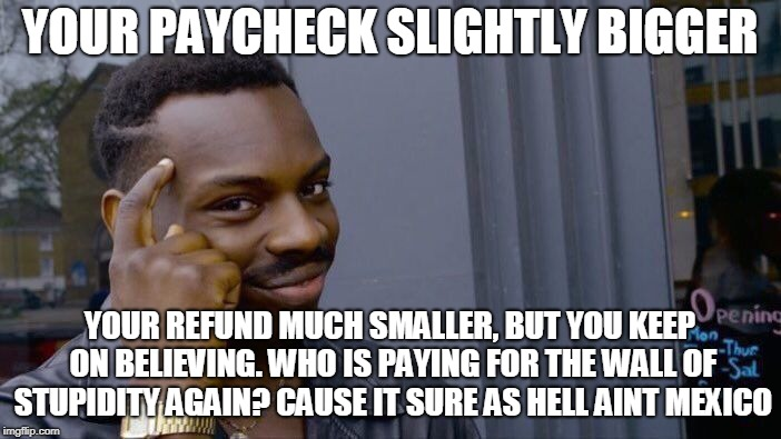 Roll Safe Think About It Meme | YOUR PAYCHECK SLIGHTLY BIGGER YOUR REFUND MUCH SMALLER, BUT YOU KEEP ON BELIEVING. WHO IS PAYING FOR THE WALL OF STUPIDITY AGAIN? CAUSE IT S | image tagged in memes,roll safe think about it | made w/ Imgflip meme maker