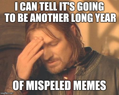 Not even a week into 2019 |  I CAN TELL IT'S GOING TO BE ANOTHER LONG YEAR; OF MISPELED MEMES | image tagged in memes,frustrated boromir,2019,funny,grammar,misspelled | made w/ Imgflip meme maker