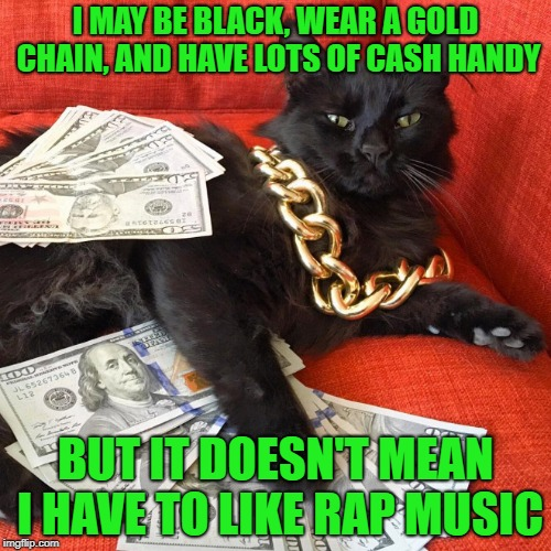 To rap or not to rap (Dedicated to my friend Lee who refuses to be stereotyped on this lol) | I MAY BE BLACK, WEAR A GOLD CHAIN, AND HAVE LOTS OF CASH HANDY BUT IT DOESN'T MEAN I HAVE TO LIKE RAP MUSIC | image tagged in gangster cat,memes,cats,rap music,stereotype,funny | made w/ Imgflip meme maker