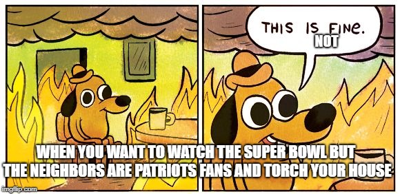 This is fine dog | WHEN YOU WANT TO WATCH THE SUPER BOWL BUT THE NEIGHBORS ARE PATRIOTS FANS AND TORCH YOUR HOUSE NOT | image tagged in this is fine dog | made w/ Imgflip meme maker