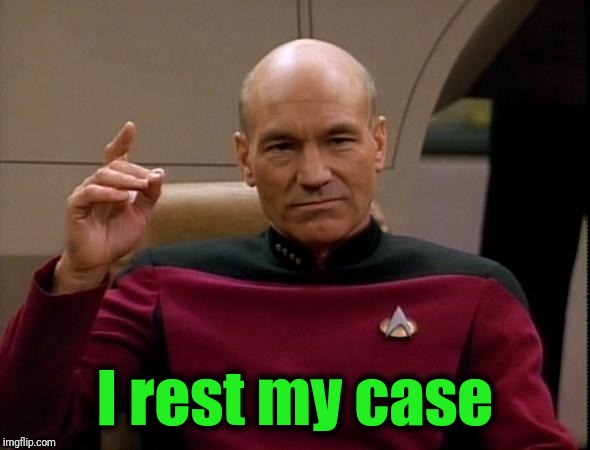 Picard Make it so | I rest my case | image tagged in picard make it so | made w/ Imgflip meme maker