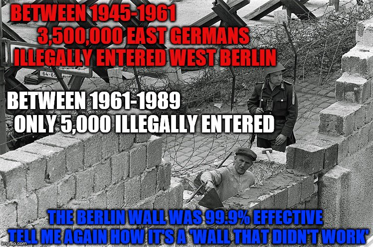 WALLS WORK | BETWEEN 1945-1961 3,500,000 EAST GERMANS ILLEGALLY ENTERED WEST BERLIN BETWEEN 1961-1989 ONLY 5,000 ILLEGALLY ENTERED THE BERLIN WALL WAS 99 | image tagged in build the wall,trump,berlin wall,wall | made w/ Imgflip meme maker