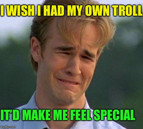 1990s First World Problems Meme | I WISH I HAD MY OWN TROLL IT'D MAKE ME FEEL SPECIAL | image tagged in memes,1990s first world problems | made w/ Imgflip meme maker