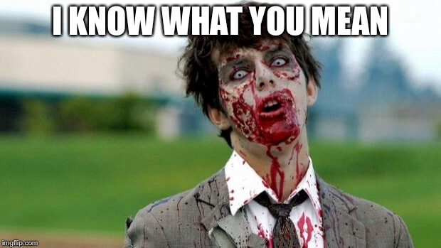 zombie | I KNOW WHAT YOU MEAN | image tagged in zombie | made w/ Imgflip meme maker