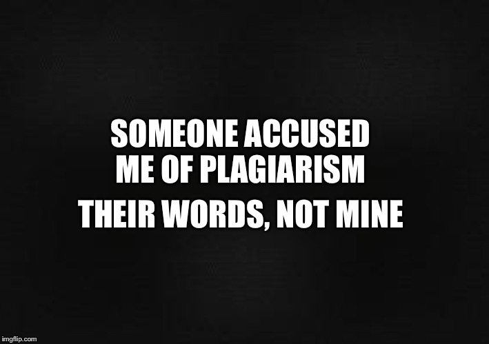 Plagiarism | SOMEONE ACCUSED ME OF PLAGIARISM THEIR WORDS, NOT MINE | image tagged in blank screen,plagiarism,funny,joke,meme,mundane problems | made w/ Imgflip meme maker