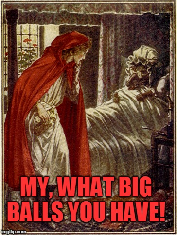 little red riding hood | MY, WHAT BIG BALLS YOU HAVE! | image tagged in little red riding hood | made w/ Imgflip meme maker