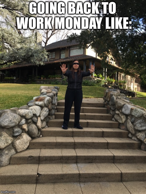 GOING BACK TO WORK MONDAY LIKE: | image tagged in kenya gastelum | made w/ Imgflip meme maker