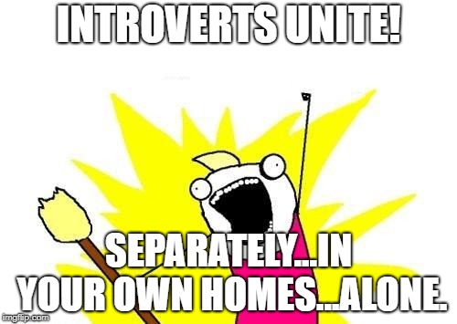 X All The Y Meme | INTROVERTS UNITE! SEPARATELY...IN YOUR OWN HOMES...ALONE. | image tagged in memes,x all the y,funny,funny memes,introvert | made w/ Imgflip meme maker