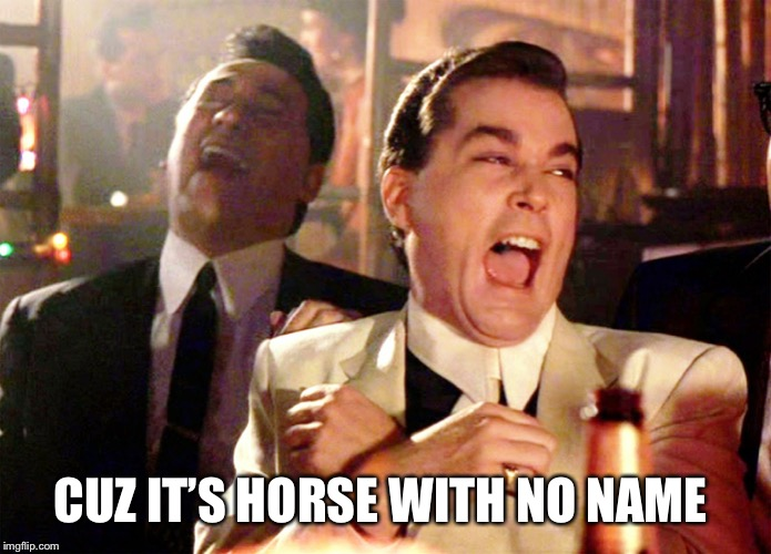 Good Fellas Hilarious Meme | CUZ IT'S HORSE WITH NO NAME | image tagged in memes,good fellas hilarious | made w/ Imgflip meme maker