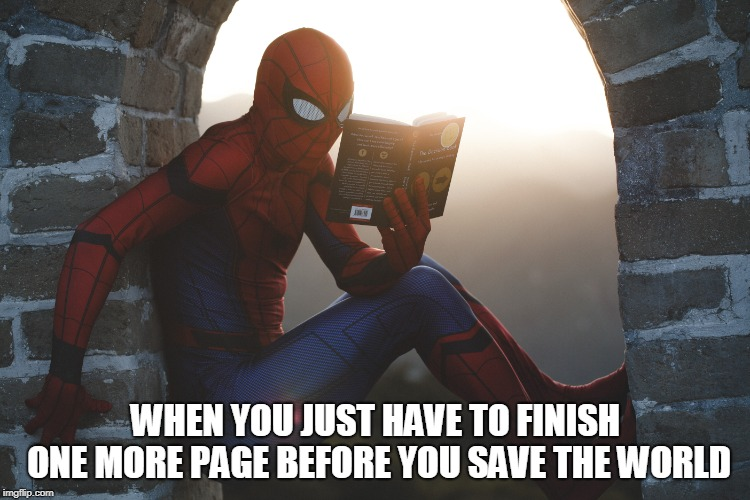 when your job stops you from doing the things you really want to do | WHEN YOU JUST HAVE TO FINISH ONE MORE PAGE BEFORE YOU SAVE THE WORLD | image tagged in spiderman,reading | made w/ Imgflip meme maker