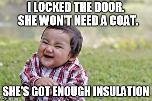 Evil Toddler Meme | I LOCKED THE DOOR.  SHE WON'T NEED A COAT. SHE'S GOT ENOUGH INSULATION | image tagged in memes,evil toddler | made w/ Imgflip meme maker