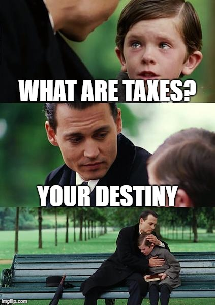 Finding Neverland Meme | WHAT ARE TAXES? YOUR DESTINY | image tagged in memes,finding neverland | made w/ Imgflip meme maker