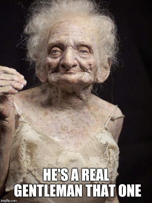 Sexy old woman | HE'S A REAL GENTLEMAN THAT ONE | image tagged in sexy old woman | made w/ Imgflip meme maker