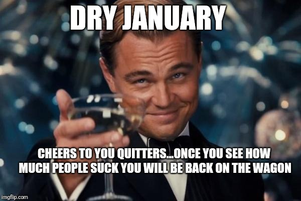 Leonardo Dicaprio Cheers Meme | DRY JANUARY CHEERS TO YOU QUITTERS...ONCE YOU SEE HOW MUCH PEOPLE SUCK YOU WILL BE BACK ON THE WAGON | image tagged in memes,leonardo dicaprio cheers | made w/ Imgflip meme maker