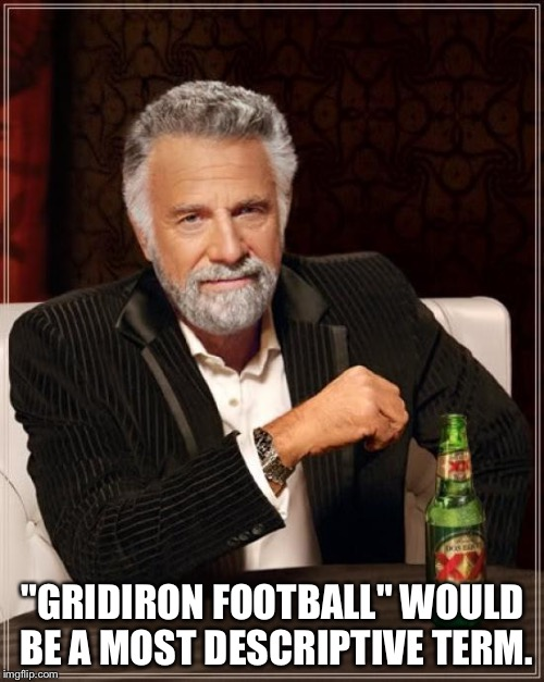 "The Most Interesting Man In The World Meme | ""GRIDIRON FOOTBALL"" WOULD BE A MOST DESCRIPTIVE TERM. 