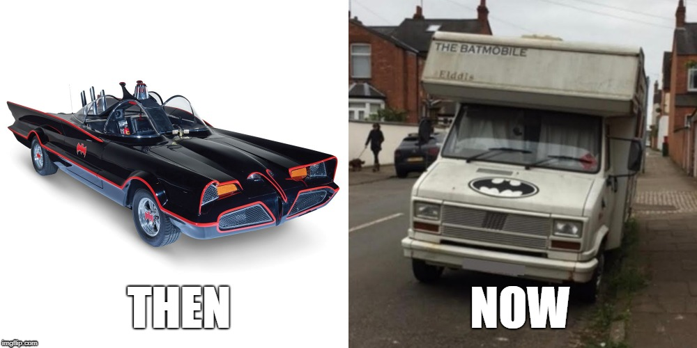 batmobile then and now (via fixmystreet) | THEN                          NOW | image tagged in batman,batmobile,batman logo | made w/ Imgflip meme maker