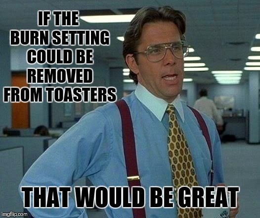 That Would Be Great | IF THE BURN SETTING COULD BE REMOVED FROM TOASTERS THAT WOULD BE GREAT | image tagged in memes,that would be great,toaster,bread,food,breakfast | made w/ Imgflip meme maker