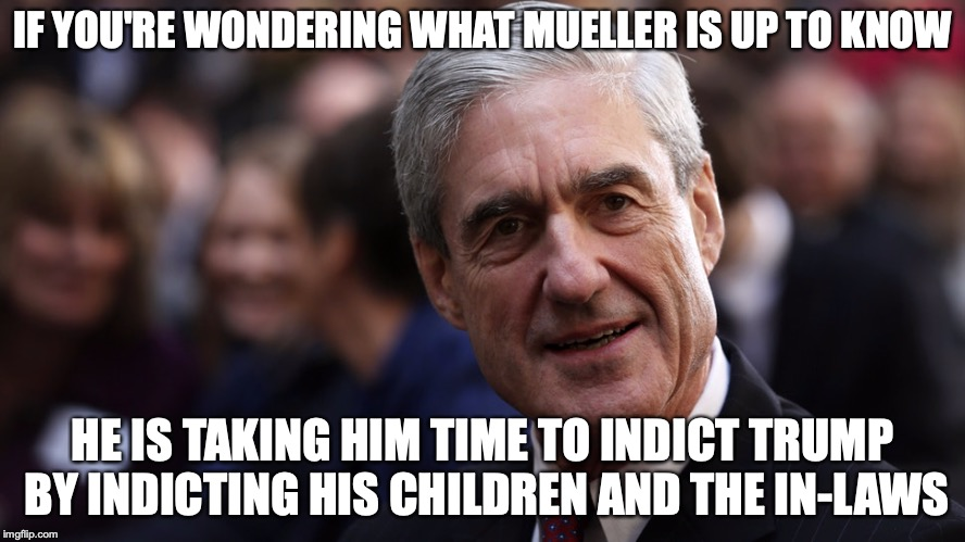 Mueller Now | IF YOU'RE WONDERING WHAT MUELLER IS UP TO KNOW HE IS TAKING HIM TIME TO INDICT TRUMP BY INDICTING HIS CHILDREN AND THE IN-LAWS | image tagged in robert mueller,memes | made w/ Imgflip meme maker