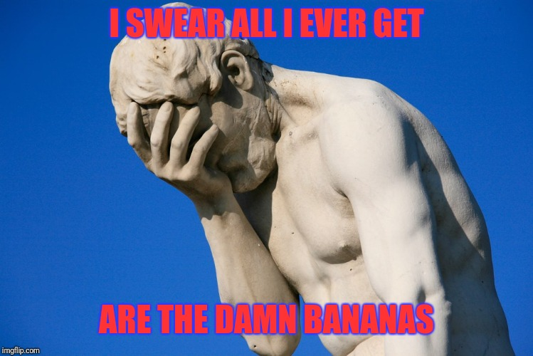Embarrassed statue  | I SWEAR ALL I EVER GET ARE THE DAMN BANANAS | image tagged in embarrassed statue | made w/ Imgflip meme maker