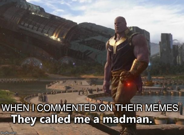 WHEN I COMMENTED ON THEIR MEMES | image tagged in thanos they called me a madman | made w/ Imgflip meme maker