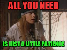 axle | ALL YOU NEED IS JUST A LITTLE PATIENCE | image tagged in axle | made w/ Imgflip meme maker