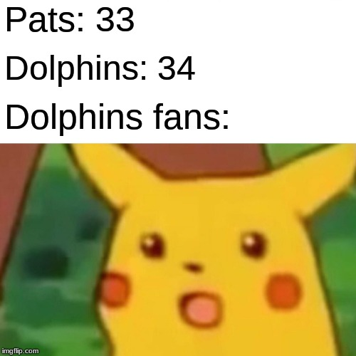 Surprised Pikachu |  Pats: 33; Dolphins: 34; Dolphins fans: | image tagged in memes,surprised pikachu | made w/ Imgflip meme maker