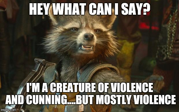 Rocket Raccoon | HEY WHAT CAN I SAY? I'M A CREATURE OF VIOLENCE AND CUNNING....BUT MOSTLY VIOLENCE | image tagged in rocket raccoon | made w/ Imgflip meme maker
