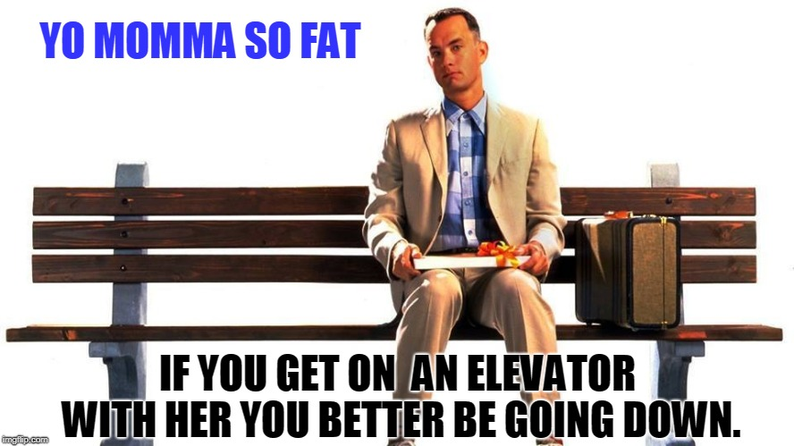 I have not heard a good yo momma joke for a month.until now. | YO MOMMA SO FAT IF YOU GET ON  AN ELEVATOR WITH HER YOU BETTER BE GOING DOWN. | image tagged in momma said,fat mommas,forrest gump,meme this | made w/ Imgflip meme maker