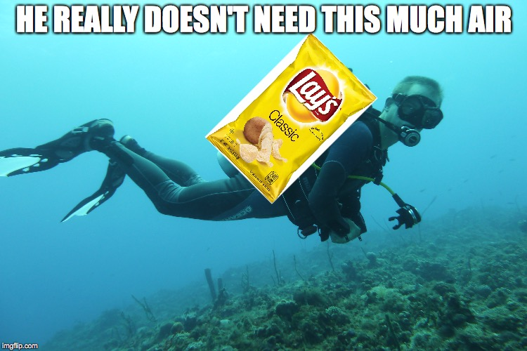 Facts | HE REALLY DOESN'T NEED THIS MUCH AIR | image tagged in scuba diving,potato chips | made w/ Imgflip meme maker