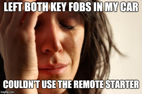 First World Problems Meme | LEFT BOTH KEY FOBS IN MY CAR COULDN'T USE THE REMOTE STARTER | image tagged in memes,first world problems,AdviceAnimals | made w/ Imgflip meme maker