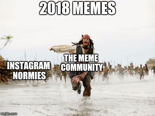 Jack Sparrow Being Chased Meme |  2018 MEMES; THE MEME COMMUNITY; INSTAGRAM NORMIES | image tagged in memes,jack sparrow being chased | made w/ Imgflip meme maker