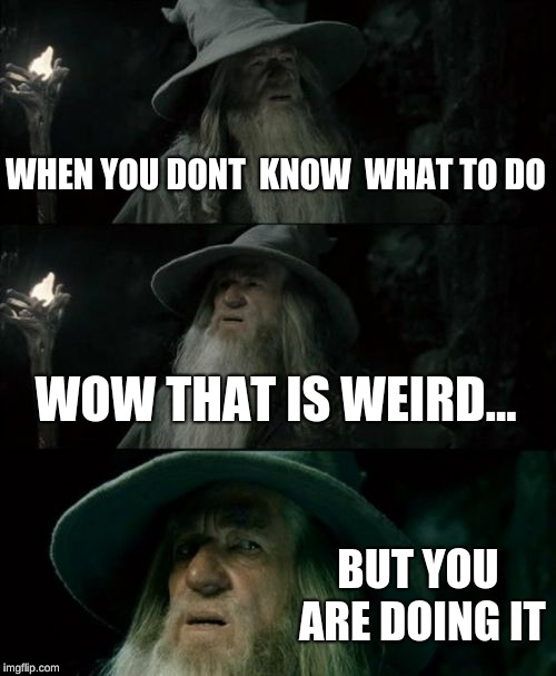 Confused Gandalf Meme | WHEN YOU DONT  KNOW  WHAT TO DO WOW THAT IS WEIRD... BUT YOU ARE DOING IT | image tagged in memes,confused gandalf | made w/ Imgflip meme maker