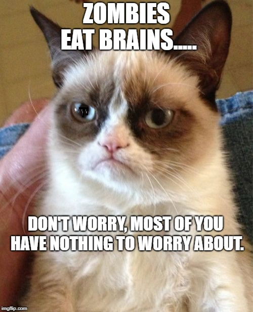 Grumpy Cat Meme | ZOMBIES EAT BRAINS..... DON'T WORRY, MOST OF YOU HAVE NOTHING TO WORRY ABOUT. | image tagged in memes,grumpy cat | made w/ Imgflip meme maker