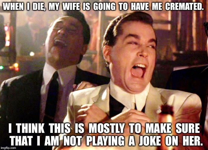 Good Fellas Hilarious Meme | WHEN  I  DIE,  MY  WIFE  IS  GOING  TO  HAVE  ME  CREMATED. I  THINK  THIS  IS  MOSTLY  TO  MAKE  SURE  THAT  I  AM  NOT  PLAYING  A  JOKE   | image tagged in memes,good fellas hilarious | made w/ Imgflip meme maker